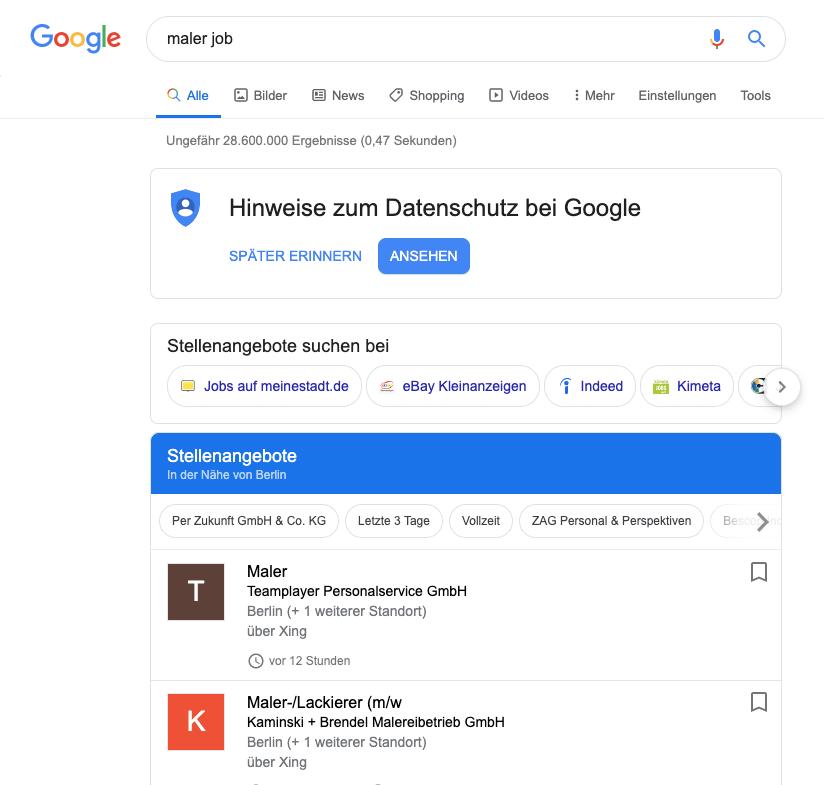 Die Jobbox von Google taucht bei Suchanfragen ganz oben auf