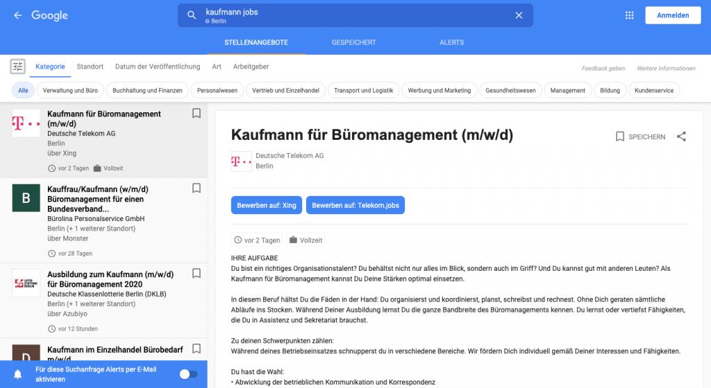 Google for Jobs Suchmaske