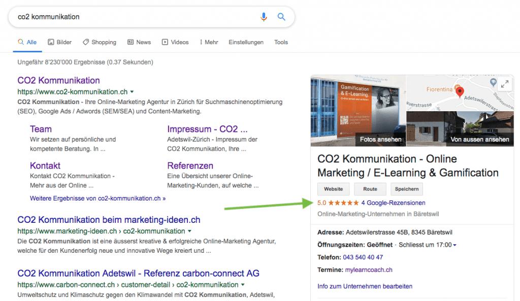 Google Bewertungen auf den ersten Blick sichtbar