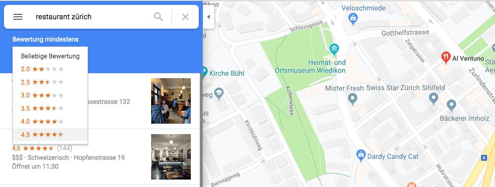 Sortierung nach Bewertungen bei Google Maps